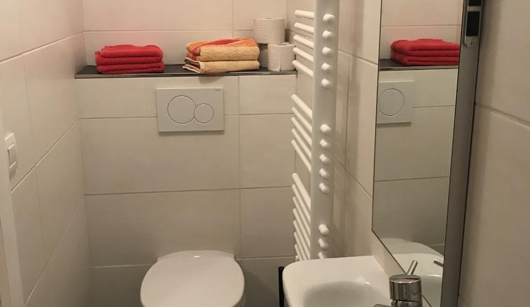 WC mit Gästewaschbecken und Handtuchtrockner.