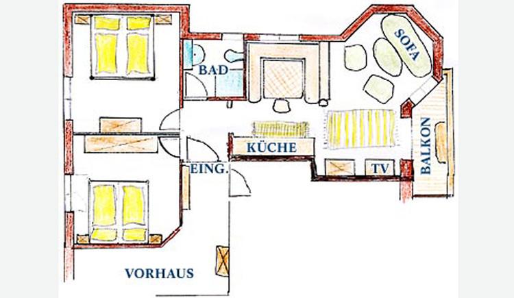 Skizze von der Wohnung - Raumaufteilung