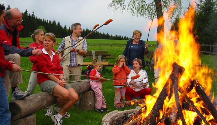 Den Abend gemütlich am Lagerfeuer ausklingen lassen.