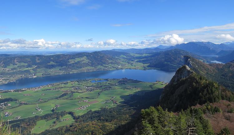 """Blick vom Schober mit traumhaften Panorama. Rechts die Drachenwand von \""""der Rückseite\"""" darunter der Mondsee und die Wiesenlandschaft von St. Lorenz. Im Hintergrund Blick über die Salzkammergutberge bis zum Traunstein."""