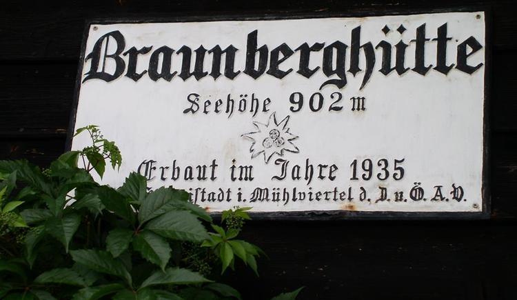 Schild Braunberghütte (© Braunberghütte Alpenverein)