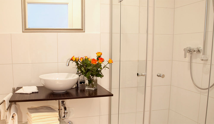 bathroom with sink, nearby a flower vase, mirror, shower on the side
