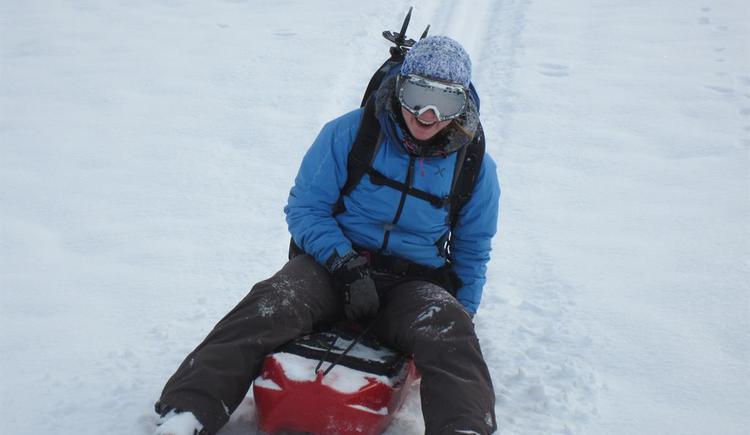 bergaufschneeschuhwandern, bergab naturrodeln