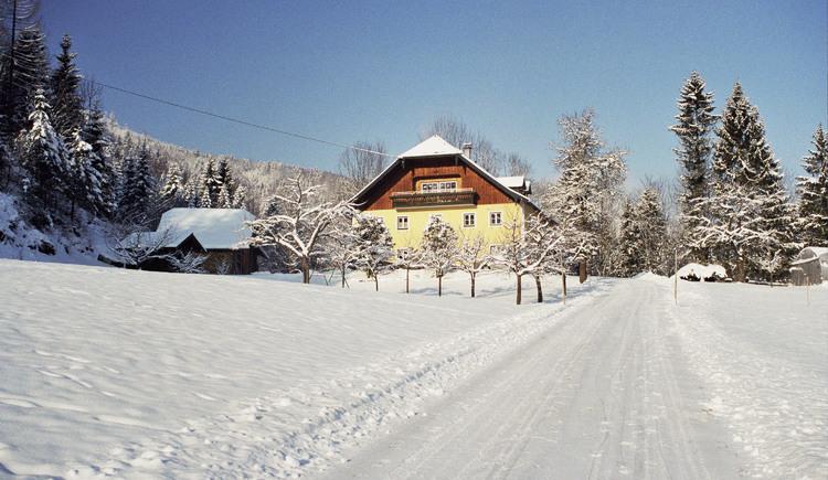 Haindlgut Hausansicht Winter