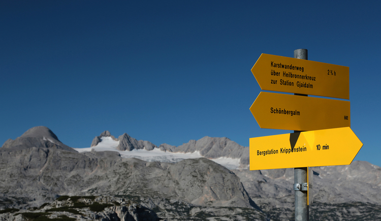 signs with Dachstein mountain in the background
