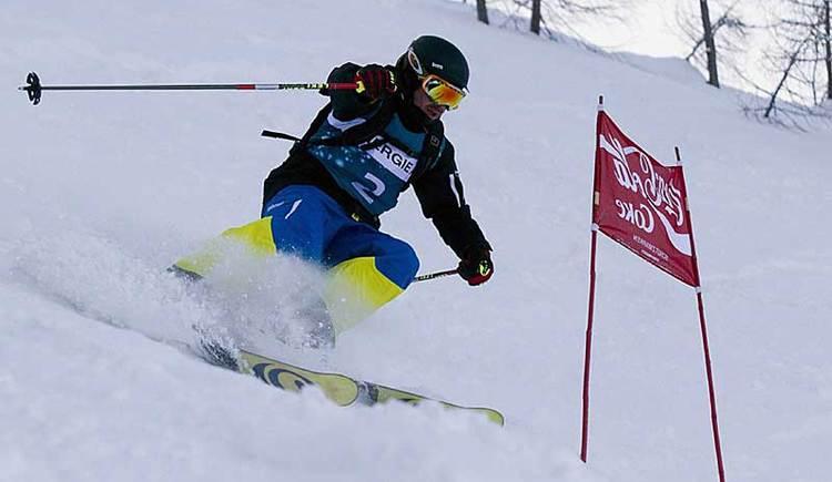 Schifahrer bei einem Rennen