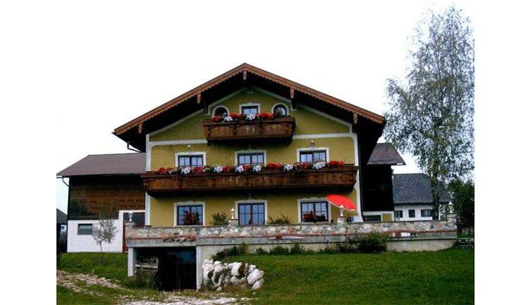 Blick auf das Haus mit Balkon und Blumen, im Vordergrund eine Wiese