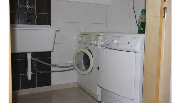 washing machine, drier, deep sink on the side