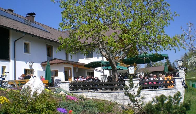 Almgasthof Schwarz am Hongar mit wunderbaren Aussichtspanorama.