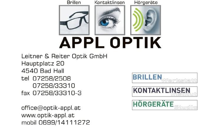 Visitenkarte Appl Optik (© Appl Optik & Hörgeräte, Sabine Leitner)