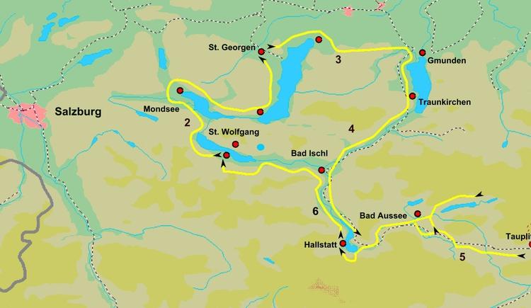 Sie sehen die tägliche Radtouren auf der Karte
