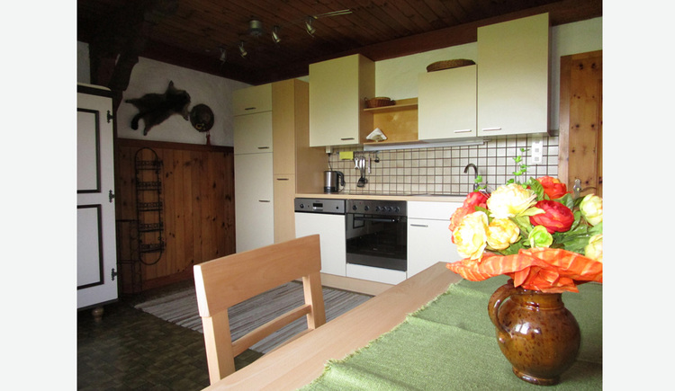Living are in the front with a glimpse of the kitchen, equipped with a stove, a kettle and a dishwasher.