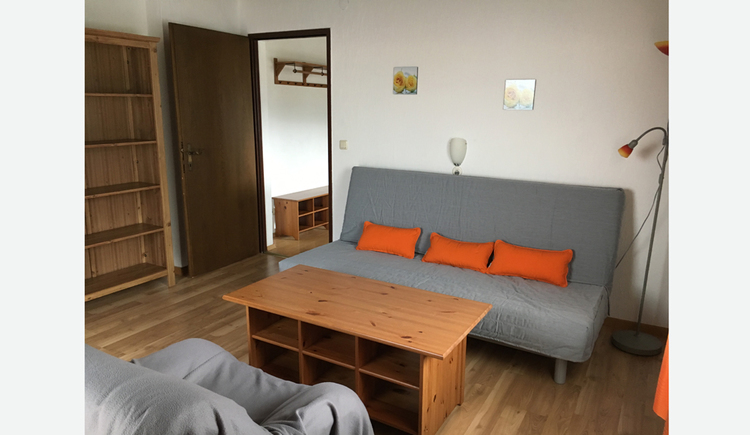 Living area with couch, couch table, armchair, in the background a shelf