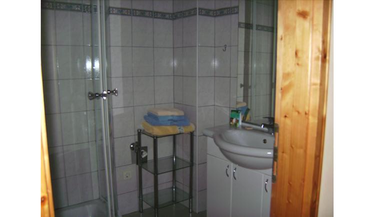 bathroom with shower, sink, mirror