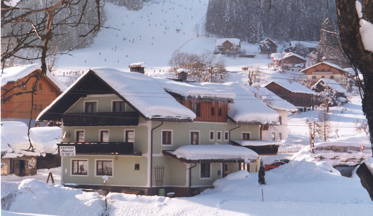 Apartment Neuwirt in winter with the ski slope in the background.
