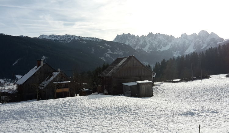 Beautiful view into the valley of Gosau covered in snow