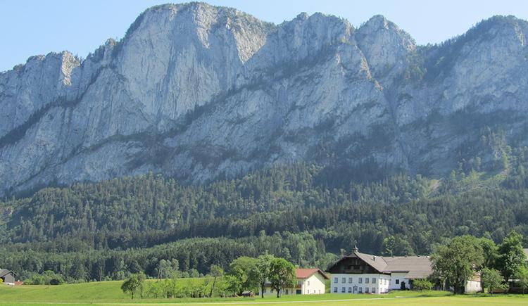 im Vordergrund ein typischer Bauernhof der Region, im Hintergrund die Drachenwand.
