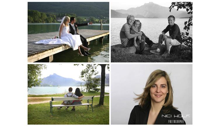 verschiedene Bilder, Braut mit Bräutigam sitzen auf einem Steg // Personen sitzen in der Wiese im Hintergrund der See und die Berge // Personen sitzen auf einer Bank beim See, im Hintergrund die Berge // Person