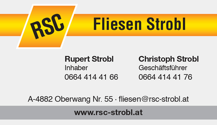 Business Card - text. (© Fliesen Strobl)