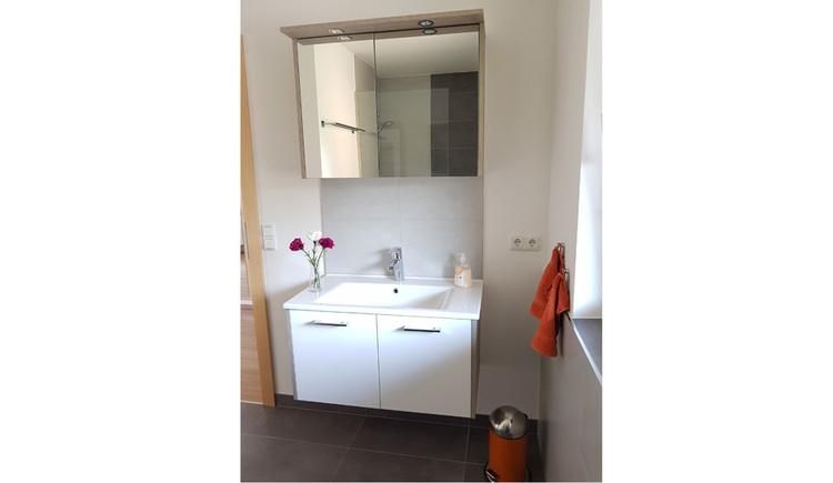 Badezimmer mit Waschbecken, Spiegelschrank
