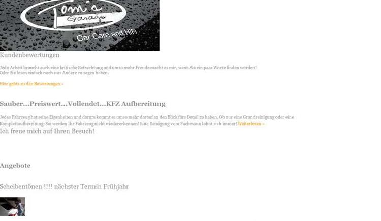 Toms Garage homepage