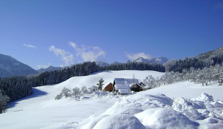 Winter am Margarethengut mit Schafberg. (© seekda)