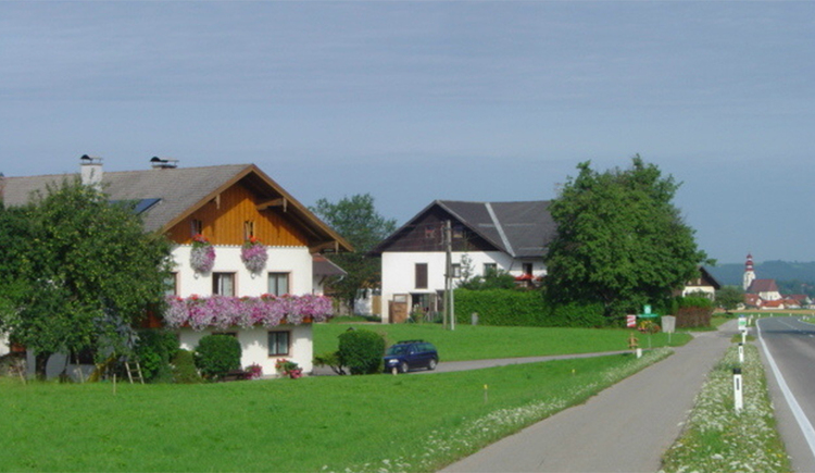 meadows, parked cars, Gästehaus Jedinger on the side with balcony, flowers and trees. (© Jedinger)