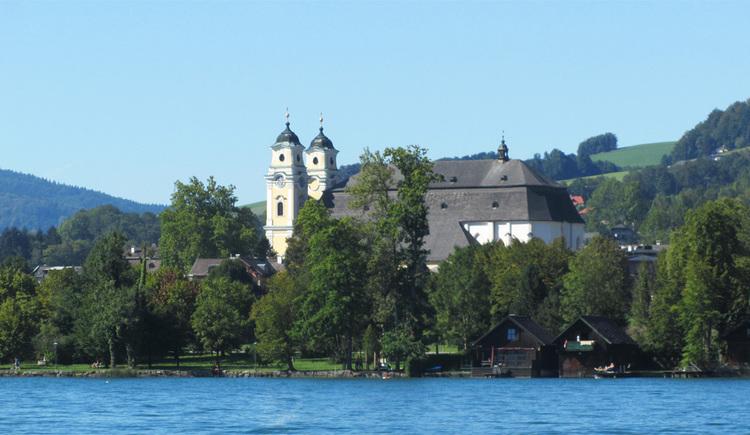 Blick vom See auf das Ufer mit Bäume, dahinter die Kirche. (© Tourismusverband MondSeeLand)