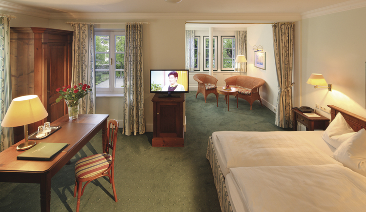 Zimmer. (© Seehotel Brandauers Villen)