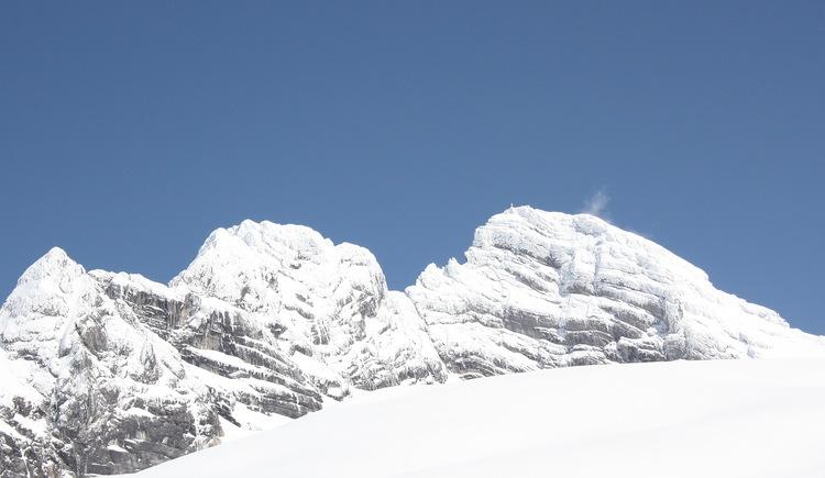 Im Bild sind der Niedere und der Hohe Dachstein zu sehen. Im Vordergrund zieht sich der Gosaugletscher bis zur Adamekhütte herunter. (© Elisabeth Grill)