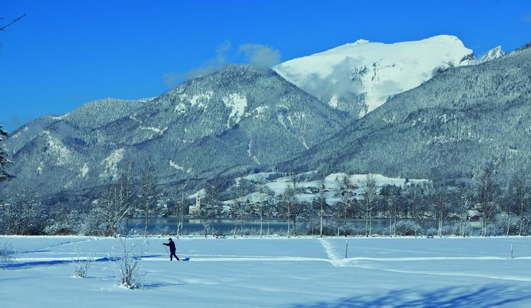 Langlaufloipe im Blinklingmoos, im Hintergrund der Wolfgangsee und St. Wolfgang. (© WTG)