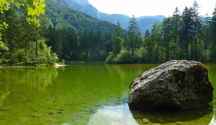 Der Stein im Koppenwinkelsee macht diesen Glücksplatz aussergewöhnlich. (© Ferienregion Dachstein Salzkammergut)