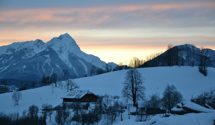 Winter Abend, Schnee, Bauernhof