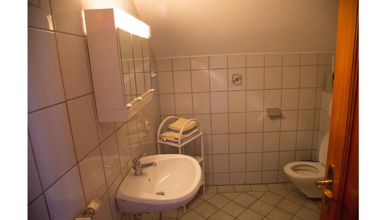 Badezimmer mit Waschbecken, Spielgelschrank, Toilette