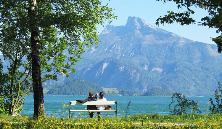 Pärchen sitzt auf einer Bank beim Seeufer, im Hintergrund die Berge, Bäume. (© Tourismusverband MondSeeLand)
