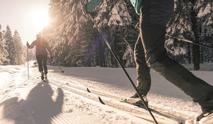 Zwei Langläufer laufen in einer Parallelspur. (© Oberösterreich Tourismus GmbH | David Lugmayr)