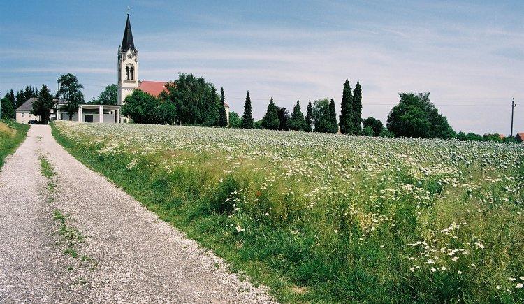 Kirchberg-Thening Landschaftsaufnahme mit Kirche