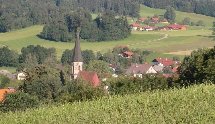 Blick auf die Kirche in Oberhofen, im Vordergrund eine Wiese. (© www.mondsee.at)