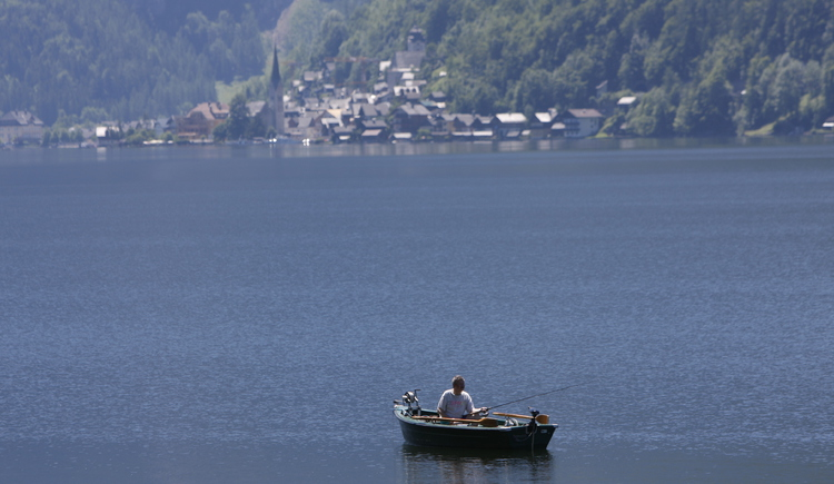 Fischen auf dem weiten Hallstättersee mit Blick auf Hallstatt. (© Ferienregion Dachstein Salzkammergut/Viorel Munteanu)