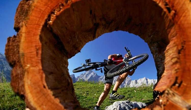 Mountainbiken auf der Dachsteinrunde in Ramsau (© Steiermark Tourismus/Leo Himsl)