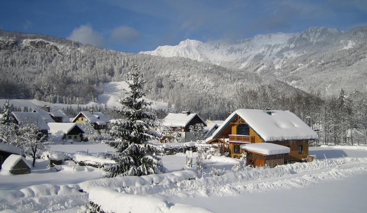 Beautiful winter landscape in Bad Goisern.