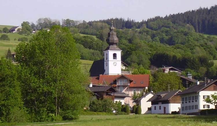 eine Kirche, umgeben von ein paar Häusern, Wiesen und Wäldern. (© www.mondsee.at)