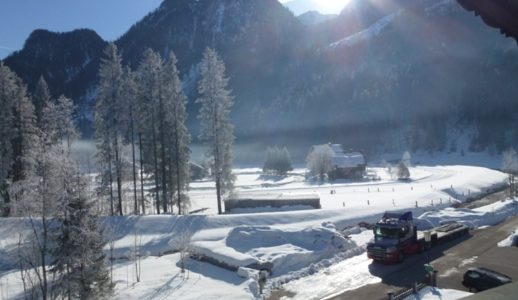 View from one of our rooms at the snowy landscape of Gosau.