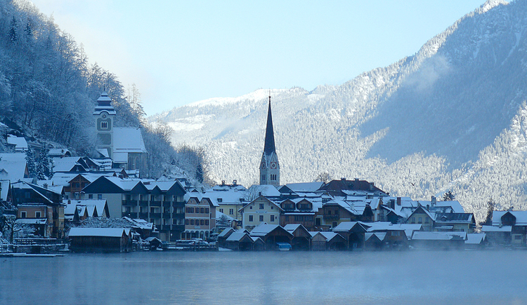 The City Center of Hallstatt in Winter