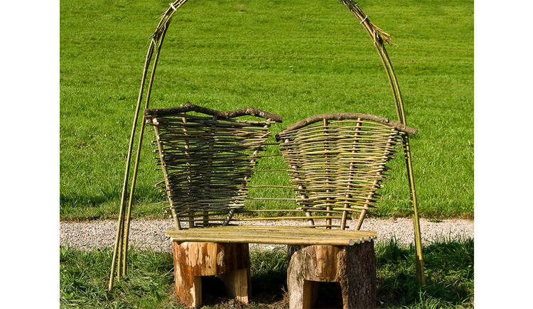 old bench in the grass