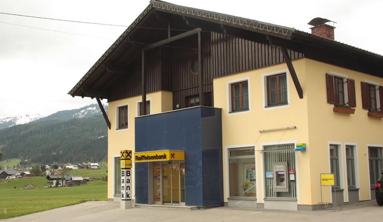 The exterior view of the Raiffeisenbank