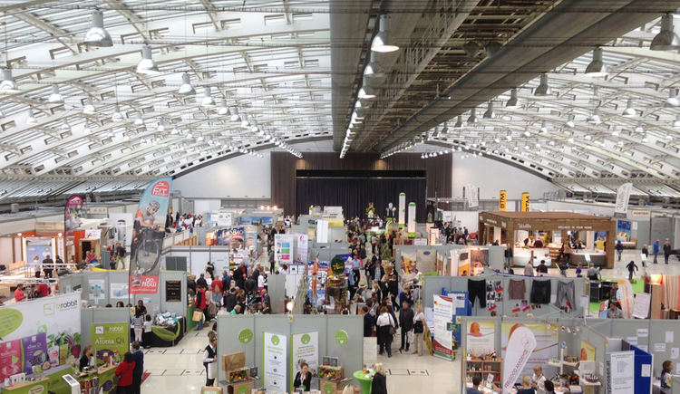 exhibition hall with many booths