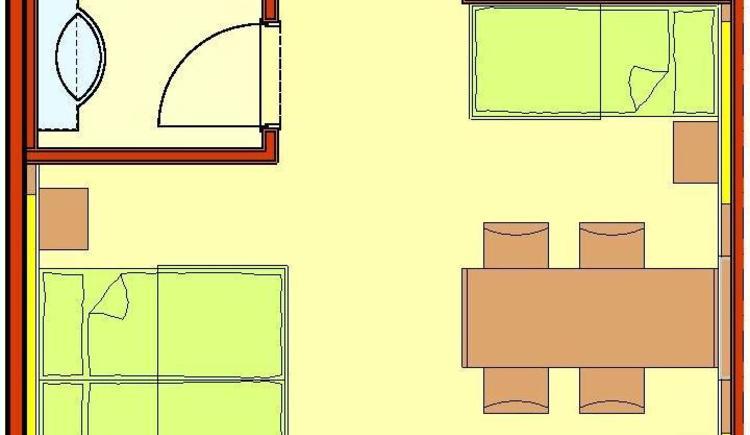 Zimmer mit Doppelbett oder zwei Einzelbetten und weitere zwei Einzelbetten, Badezimmer mit Dusche, separate Toilette, Schrankraum, TV,  Kommunikationstisch sowie Balkon oder Terrasse mit atemberaubenden Panorama-Weitblick zur Donau und in die Strudengauer Naturlandschaft