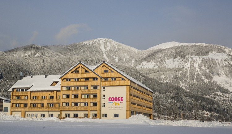 The hotel in the middle of the winter mountain landscape