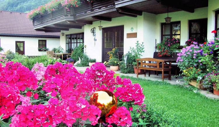 Blumenpracht vor dem Haus